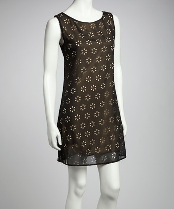 Black Daisy Shift Dress