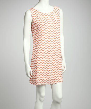 Coral & White Zigzag Sleeveless Dress