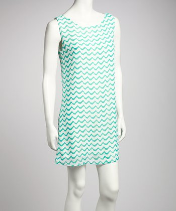 Mint & White Zigzag Sleeveless Dress