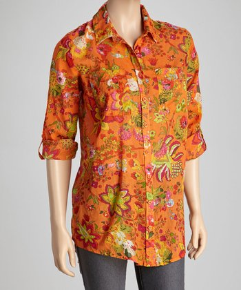 Orange & Fuchsia Tropical Floral Button-Up Tunic