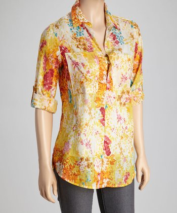Yellow & Orange Wild Flower Tunic