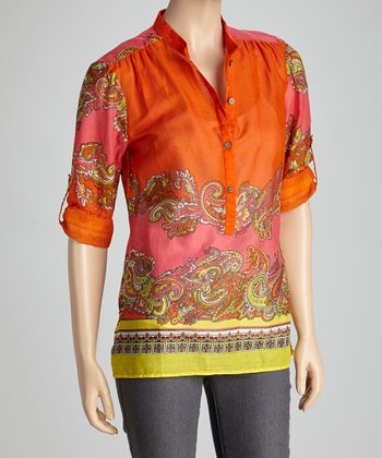 Orange & Yellow Paisley Color Block Top