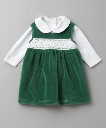 Green Velour Smocked Jumper Set
