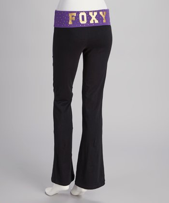 Black & Purple 'Foxy' Yoga Pants
