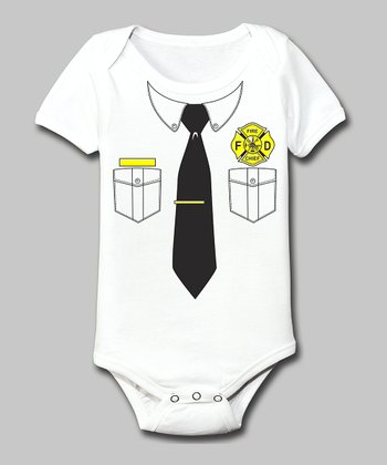 Tuxedo Tees White Fire Chief Bodysuit - Infant