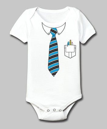 Tuxedo Tees White Nerd Pocket Protector Bodysuit - Infant