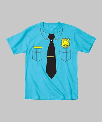 Tuxedo Tees Turquoise Police Officer Tee - Toddler & Kids