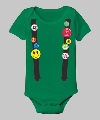 Tuxedo Tees Kelly Green Flair Suspenders Bodysuit - Infant