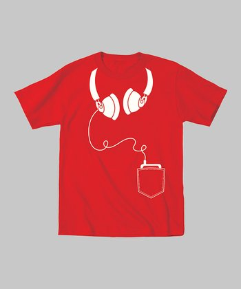 Tuxedo Tees Red & White Headphones Tee - Toddler & Kids