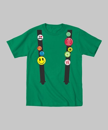 Tuxedo Tees Kelly Green Flair Suspenders Tee - Toddler & Boys