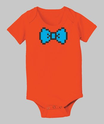 Tuxedo Tees Orange 8-Bit Bow Tie Bodysuit - Infant