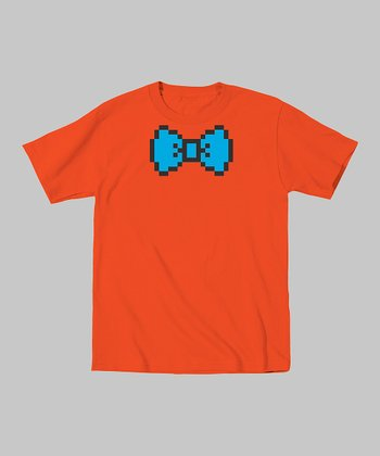 Orange 8-Bit Bow Tie Tee - Toddler & Boys