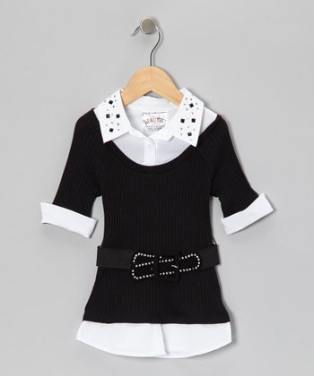 Black Stud Collar Layered Top & Belt