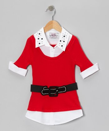 Red Stud Collar Layered Top & Belt
