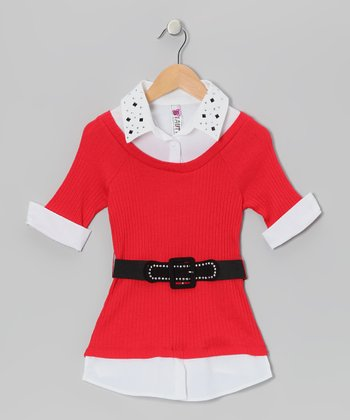 Red Stud Layered Top