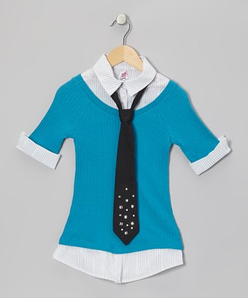 Teal Layered Stud Tie Top