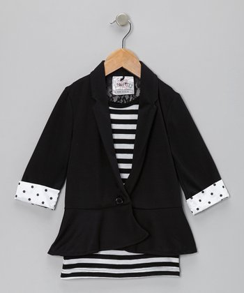 Black Stripe Lace-Back Layered Blazer - Girls