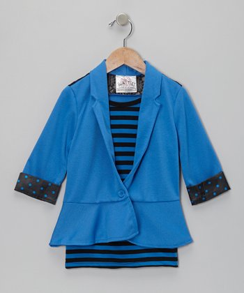 Sailor Blue Stripe Lace-Back Layered Blazer - Girls
