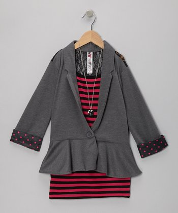 Charcoal Stripe Lace-Back Layered Blazer & Necklace - Girls