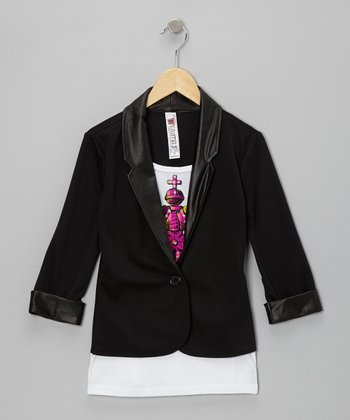 Black Crown Layered Blazer - Girls