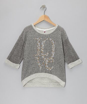 Gray 'Love' Three-Quarter Sleeve Sweatshirt - Girls