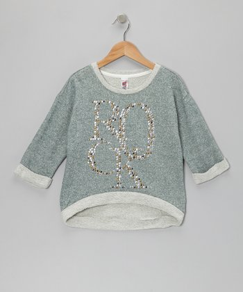 Sage 'Rock' Three-Quarter Sleeve Sweatshirt - Girls