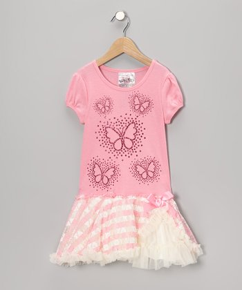 Candy Pink Butterfly Frilly Dress