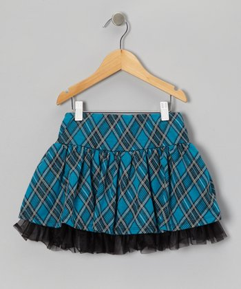 Teal Plaid Skort