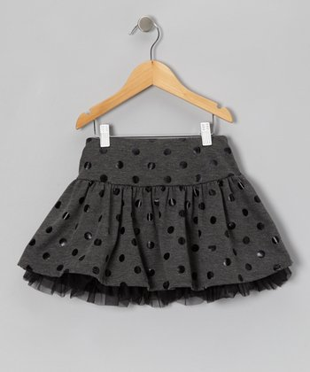 Charcoal Polka Dot Skort - Girls