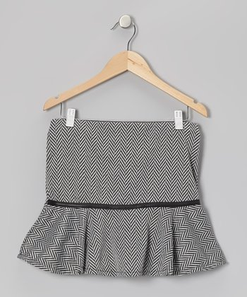 Black Herringbone Ruffle Skirt