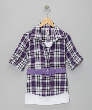 Purple Plaid Layered Shirt - Girls