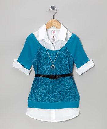 Teal Lace Layered Top