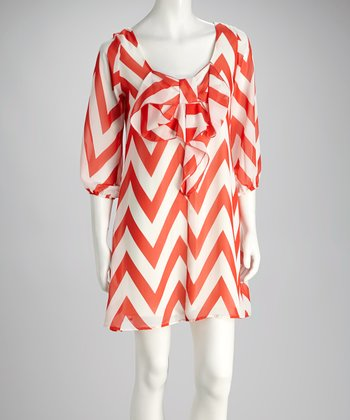 Coral Zigzag Scoop Neck Dress