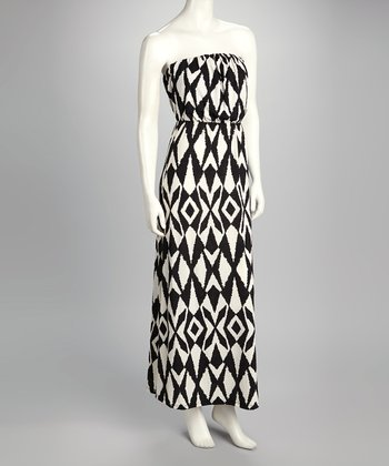 Black Geometric Print Strapless Maxi Dress