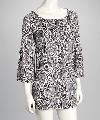 Black Damask Shift Dress