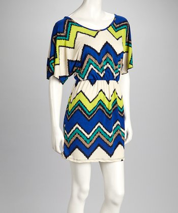 Blue & Cream Frayed Zigzag Cape-Sleeve Dress