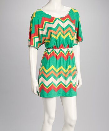 Green & Cream Zigzag Cape-Sleeve Dress