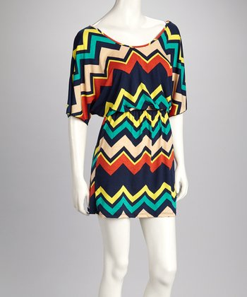 Navy & Cream Zigzag Cape-Sleeve Dress