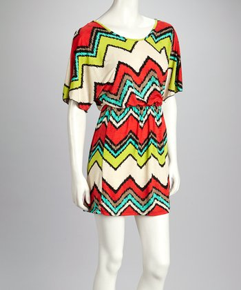 Red & Cream Frayed Zigzag Cape-Sleeve Dress