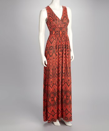 Rust Surplice Maxi Dress