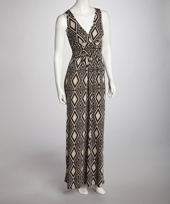 Taupe & Black Geometric Maxi Dress