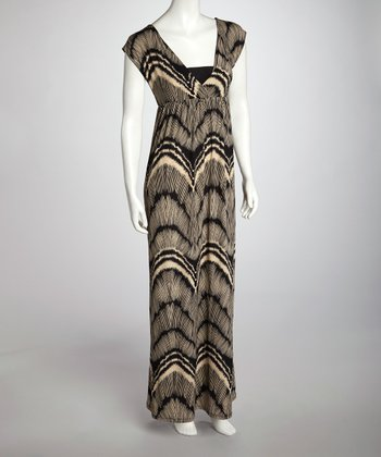 Taupe & Black Abstract Surplice Maxi Dress