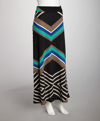 Black & Teal Zigzag Skirt