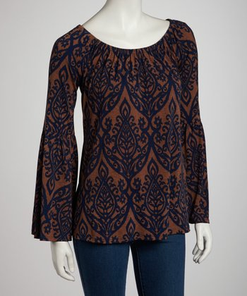 Mocha Bell-Sleeve Top