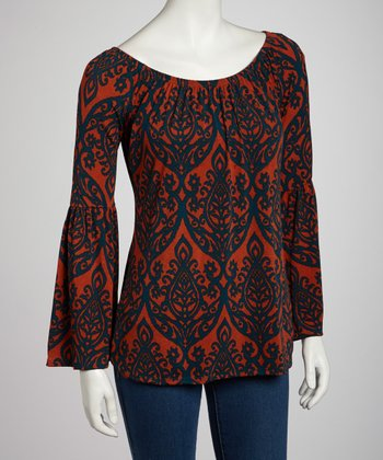 Rust Bell-Sleeve Top