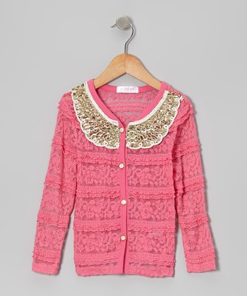 Hot Pink Lace Sequin Collar Cardigan - Infant, Toddler & Girls