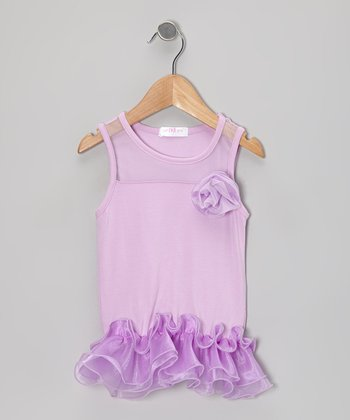 Purple Curly Tutu Peplum Tank - Toddler & Girls