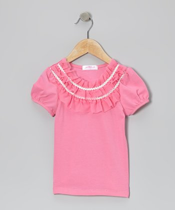 Pink Ruffle Collar Top - Girls