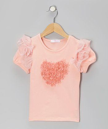 Peach Rosette Heart Flutter Top - Infant
