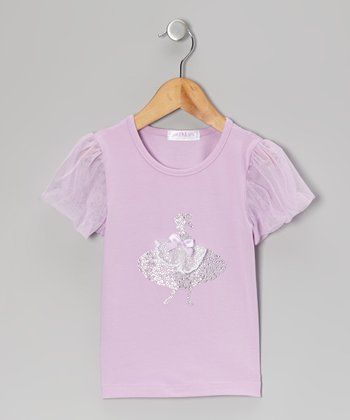 Purple Ballerina Puff-Sleeve Top - Infant, Toddler & Girls